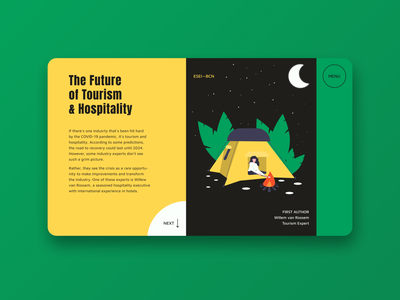 THE FUTURE OF TOURISM illustration illustrator night yellow green item article hospitality future covid19 covid tourism mainpage main uidesign ui figmadesign webdesign web figma