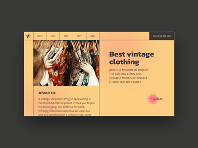 Vintage clothing uidesign webdesign dribbble best shot dribbble clothes stains interface retro figma concept web ui mainpage main store clothing star vintage yellow