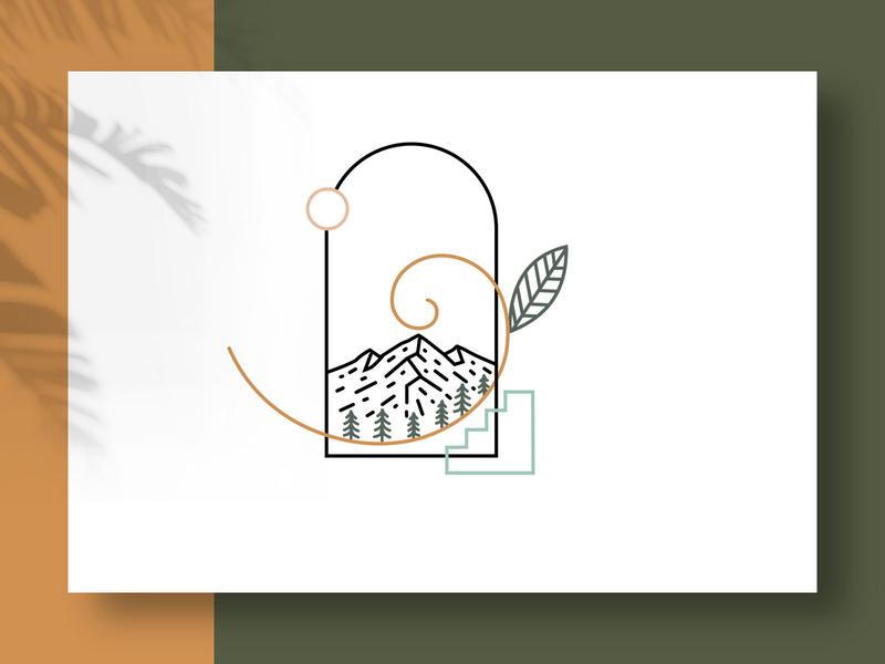 Mountain outdoor montain monoline logo illustration art ilustration minimalist logo minimalist minimalism minimalist design forests artwork minimal