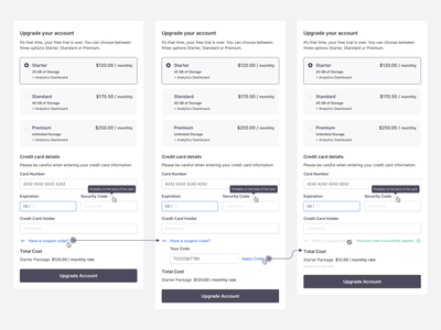 Upgrade your account discount code payment method payment form ui ux userinterface concept credit card tooltip inputs input widget pricing upgrade plans