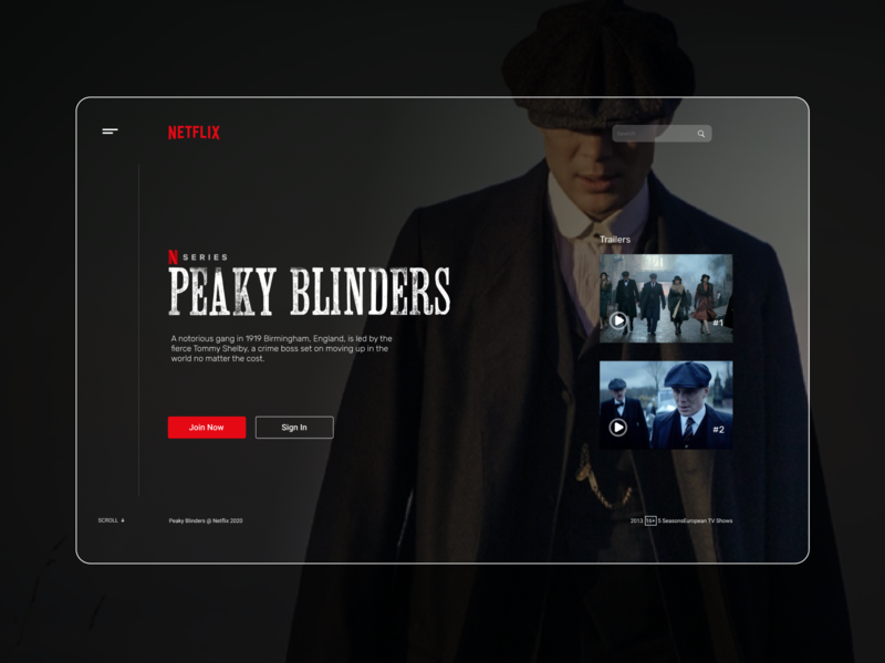 Peaky Blinders - Netflix redesign minimal ui ux tv redesign landing design movie poster movie tv series tv shows tv show web website design