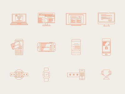 Interac Illustrations branding mobile beige red simple vector minimal linework illustrations