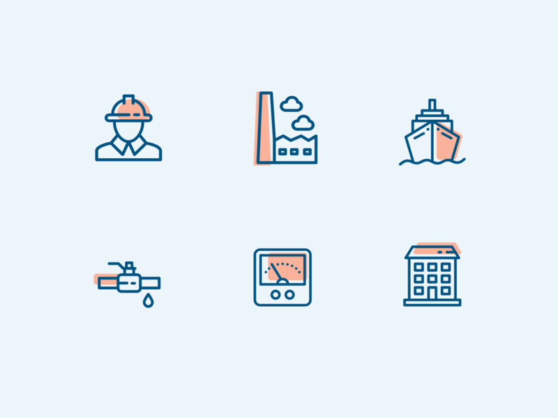Industrial icon set two colors duotone icons sketchapp vector graphic shipping oil and gas industrial icon set icons set iconography vector graphics illustrator icon icons