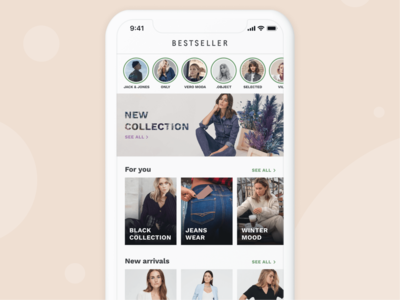 Bestseller App - Home Screen brand clothing fashion figma ecommerce minimal android ios app mobile clean ux ui design