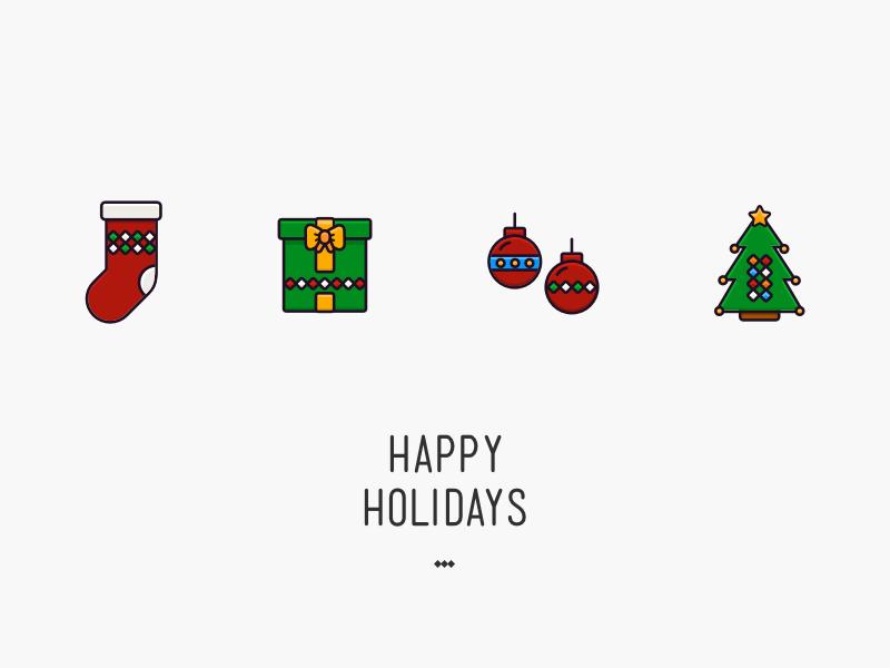 Happy Holidays 2016 tree present merry icon greeting card holiday tarful illustration christmas