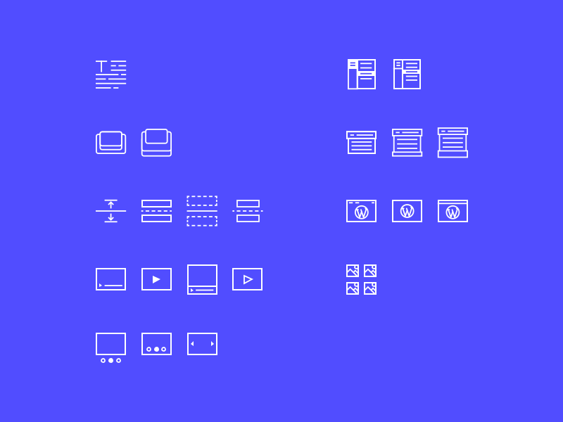 Icons exploration features vector illustration tarful onboarding process dashboard wordpress framework ui ux concept webapp design icons