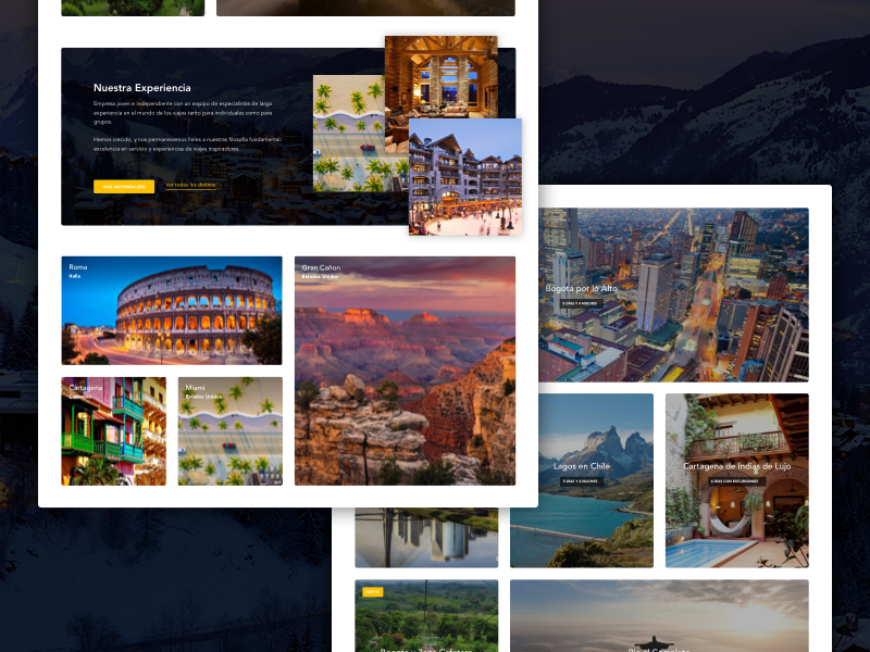 Travel cards booking listing tourism web ui ux lading page website journey experience travel card layout grid design