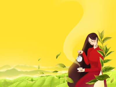 Vietnamese woman pouring tea traditional tea packaging illustraion drawing