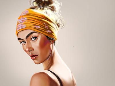 Turban fashion illustration fashion portrait woman illustration digital painting digital art