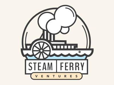 SFV logo draft logo oldschool steam boat steam ferry steam ferry illustration boat