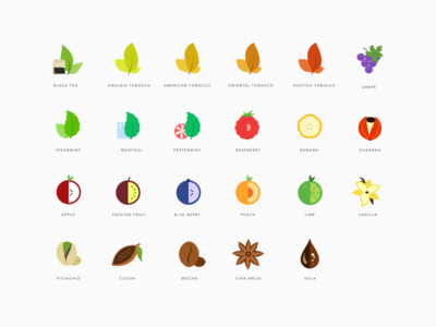Steam flavour icons icons flat cozy flavours fruit tobacco vaping e-liquid