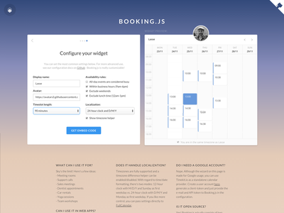 Booking.js setup wizard configuration wizard onboarding timekit.io timekit landing page widget appointments booking booking.js