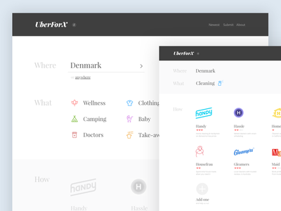 Uber for X marketplaces on-demand directory site mockup uber-for-x