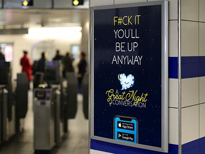 Dating App Subway Poster Advertisement mockup subway mobile cursive heart cloud funny dating app advertisement poster design