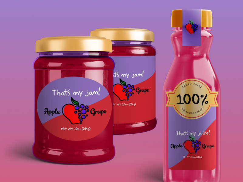 Juice & Jam Shop Package Design grape apple branding packagedesign jar jam jelly bottles juice