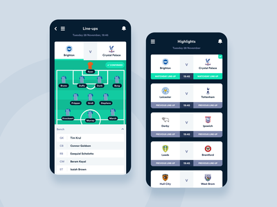 Matchday Lineups App - Concept Design mobile app design first shot concept minimal web ui app soccer football ux mobile ui mobile app mobile