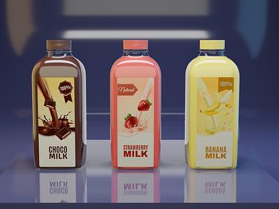 3d diff Milk bottles , Choko , Strawberry and banana design label render c4d maya 3ds max 3dsmax eevee 3d botttle milk blender photoshop psd mockup banana strawberry and banana strawberry and banana