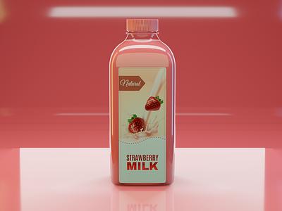 3d Pinky Strawberry Milk bottle with label mobile brand illustrator photoshop psd design label render eevee c4d maya 3ds max 3dsmax blender mockup bottle 3d