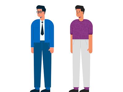 Salesman & customer character design development male men illustration vector flat character salesman customer