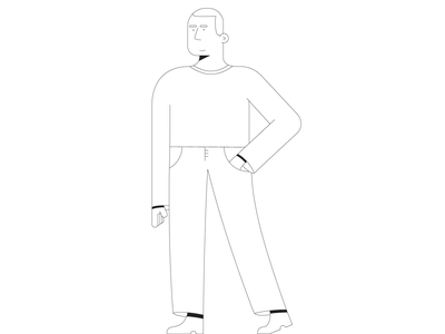 Character design stroke men male illustration flat vector design character