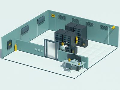 Server room isometric character computer server