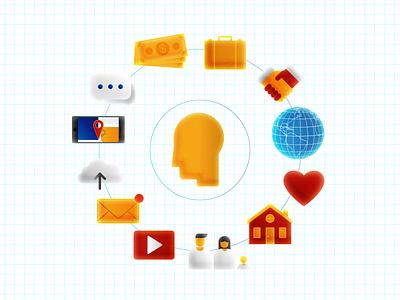 Technology mind technology tech illustration vector flat