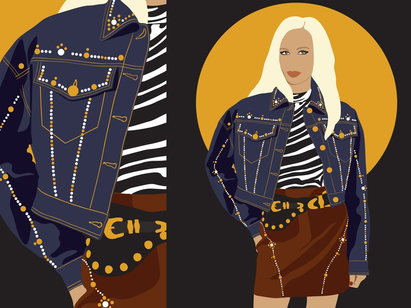 Donatella Versace (vector illustration) outfits versace fashion illustration portrait design art fashion vector flat illustrator illustration art illustration