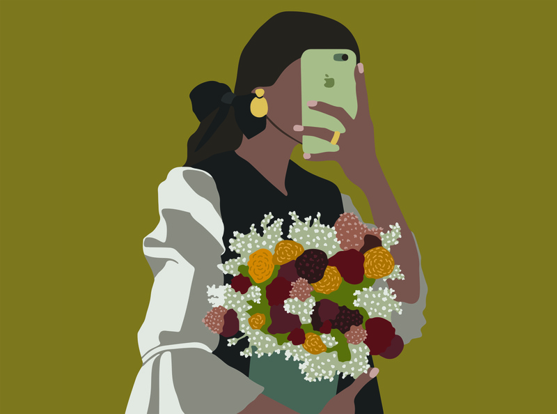 girl with flowers flat flat illustration portrait art vector fashion illustration fashion design illustrator illustration art illustration