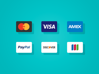 Sure, we'll take your money. credit card ui interface finance money payment visa mastercard american express paypal discover