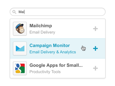 Live Search ui ux interface email search hover add