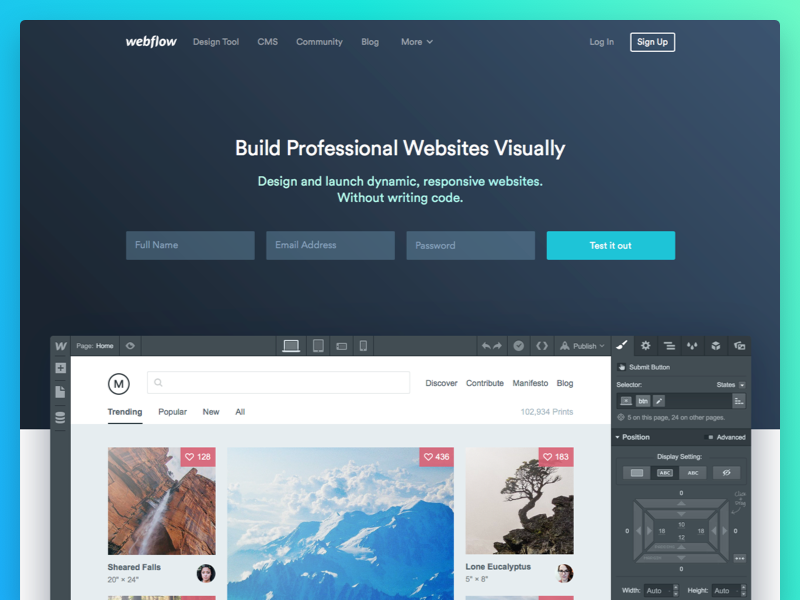 The New Webflow landing webflow marketing website