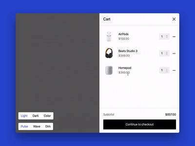 Webflow cart loading animation webflow prototype product design ui animation loading bar ecommerce