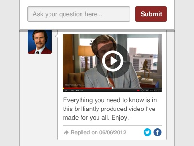 Discovered by the germans in 1904... ron burgundy questions ui design buttons video submit icon design