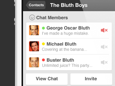 Bluth Chat contacts chat arrested development bluth user interface ui user interface