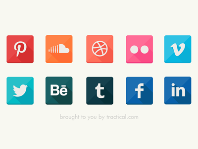Yet another long shadow icons social icons icon flat freebie free shiny long shadow tractical