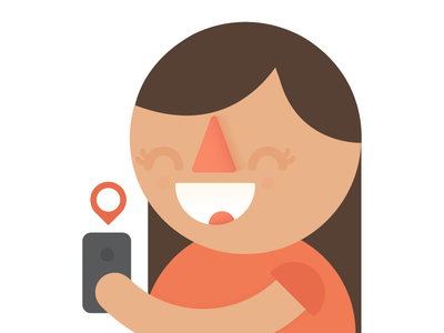 Girl with iPhone girl iphone character illustration happy flat geotag hok tractical