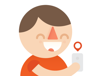 Boy with iPhone boy character illustration flat iphone strokes hok tractical geotag