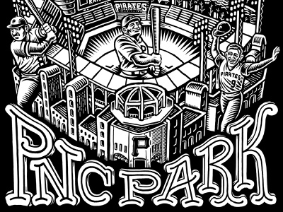 PNC Park Graphic scratchboard pnc park pittsburgh pirates pirates pittsburgh drawing zucca mario illustration