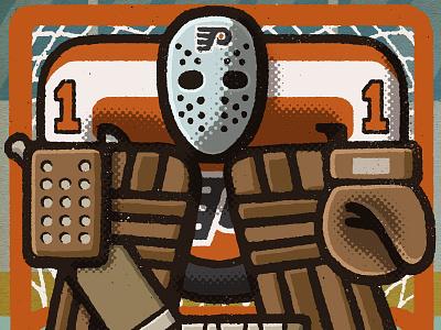 Bernie Parent Portrait hockey player bullies broad st 70s bernie parent philadelphia flyers philadelphia philly flyers nhl hockey portrait drawing zucca mario illustration