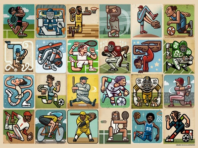 Awesome Athletes Puzzle licensing jigsaw puzzles puzzle athletes sports portrait drawing zucca mario illustration