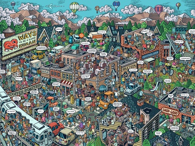 Ways to be a Good Human licensing puzzles editorial jigsaw kindness kind friendly neighbors neighborhood people crowd scene crowd drawing zucca mario illustration