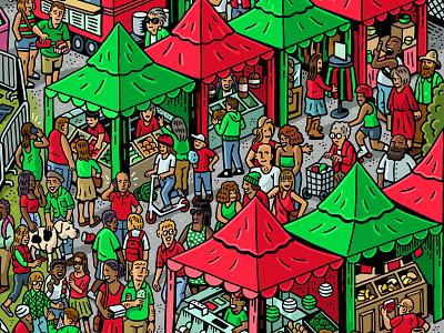 Razor Scooter/Sriracha Mashup advertising branding crowd scene crowd drawing zucca mario illustration