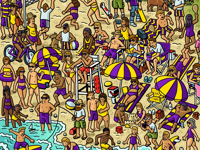 Razor Scooter/Takis Mashup beach party razor scooter takis beach crowd scene crowd drawing zucca mario illustration