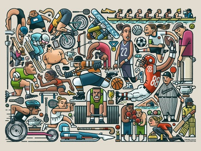 Sports Collage collage art athletes sports ravensburger licensing puzzle jigsaw design collage drawing zucca mario illustration