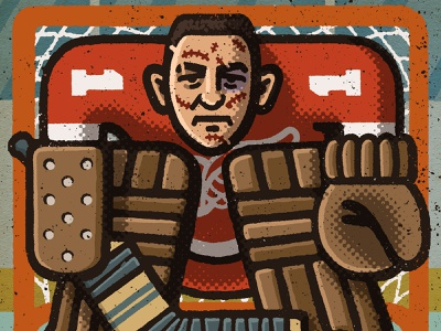 Terry Sawchuk Portrait red wings detroit terry sawchuk goalie nhl portrait drawing zucca mario illustration