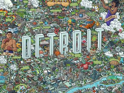Detroit Map licensing poster prints print motor city motown joe louis aretha franklin tiger stadium detroit tigers detroit red wings detroit pistons detroit lions detroit map drawing zucca mario illustration