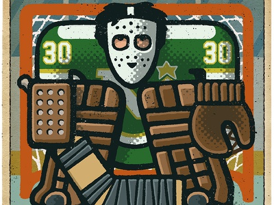 Cesare Maniago Portrait hockey player hockey logo cesare maniago north stars minnesota goalie hockey nhl portrait drawing zucca mario illustration