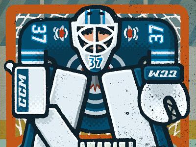 Connor Hellebuyck Portrait jets winnipeg connor hellebuyck goalie hockey nhl portrait drawing zucca mario illustration