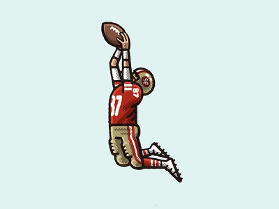 Dwight Clark The Catch 80s niners dwight clark nfl football 49ers spot illustration sports athlete portrait drawing zucca mario illustration