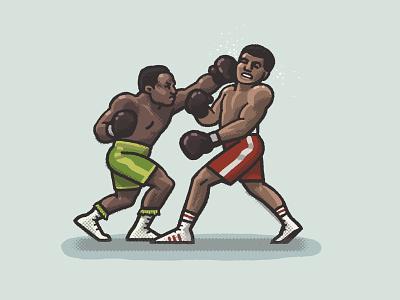 Fight of the Century spot illustration spo-mos spo-mo muhammad ali joe frazier 1971 70s boxing sports athlete portrait drawing zucca mario illustration